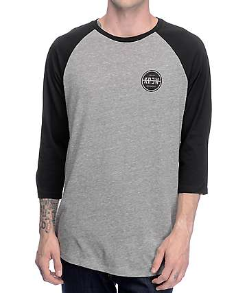 KR3W Slash Seal Black & Grey Raglan T-Shirt