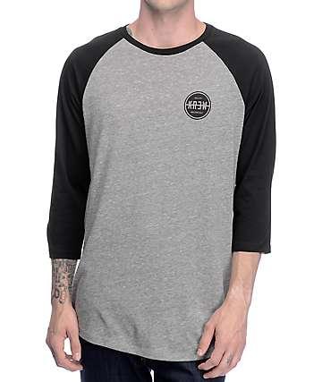 KR3W Slash Seal Black & Grey Raglan T-Shirt
