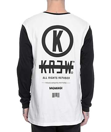 KR3W Stack Black & White Long Sleeve T-Shirt