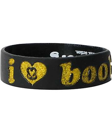 Keep A Breast Black & Gold Glitter I Love Boobies Bracelet