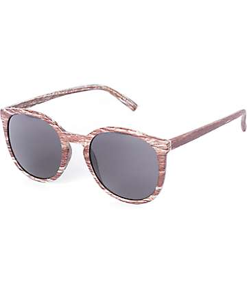 Keyhole Wood Grain Round Sunglasses
