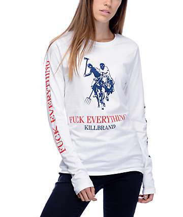 Kill Brand Killas FE Polo Long Sleeve White T-Shirt