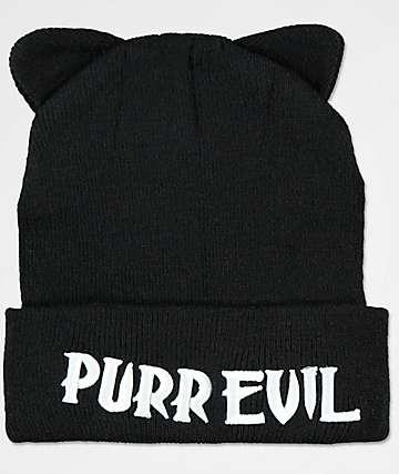 Killstar Purr Evil Black Beanie