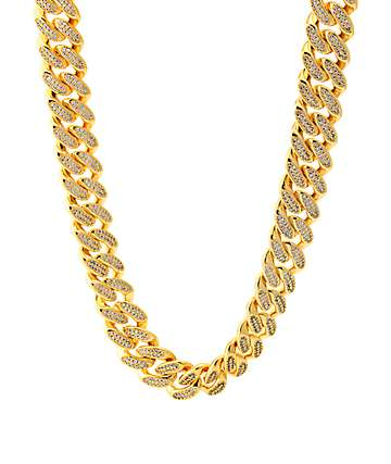 King Ice 18K Gold 15mm Studded Miami Cuban Curb Chain