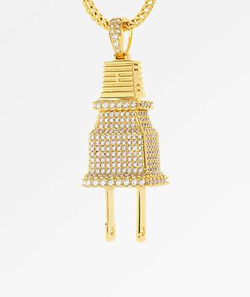 King Ice CZ Gold Plug Necklace