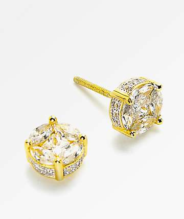King Ice Gold 3D Button Earrings