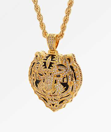 King Ice Gold Bengal Tiger Necklace