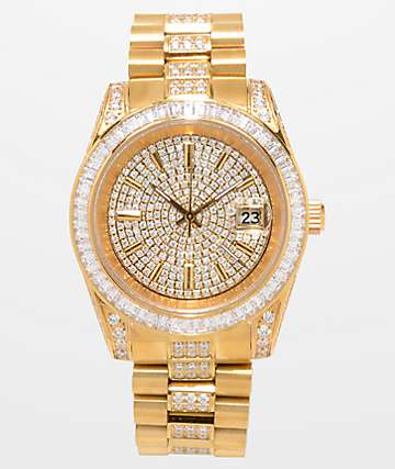 King Ice Royal CZ 14k Gold Watch