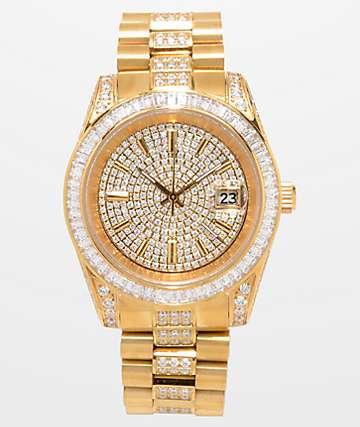 King Ice Royal CZ 14k Gold Watch