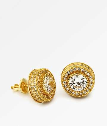 King Ice pendientes de botón dorados