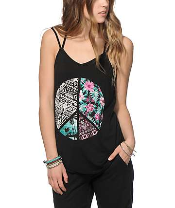 Kiss & Cry Mix Print Peace Sign Tank Top