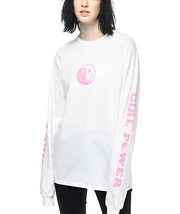 Know Bad Daze Girl Power camiseta blanca de manga larga