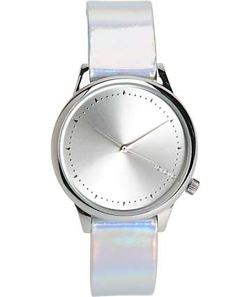 Komono Estelle Iridescent Silver Analog Watch
