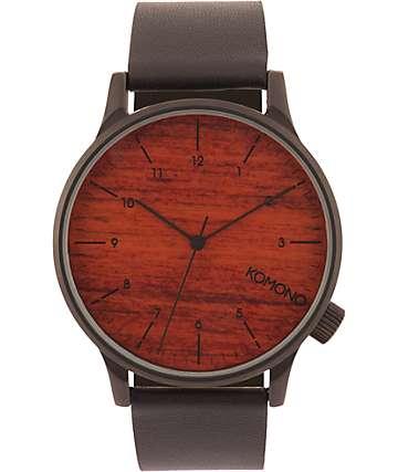 Komono Winston Black Wood Analog Watch