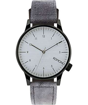 Komono Winston Heritage Black Denim Analog Watch
