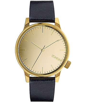 Komono Winston Mirror Gold & Navy Watch