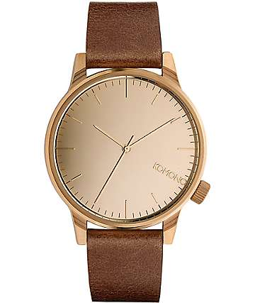 Komono Winston Mirror Rose & Cognac Watch