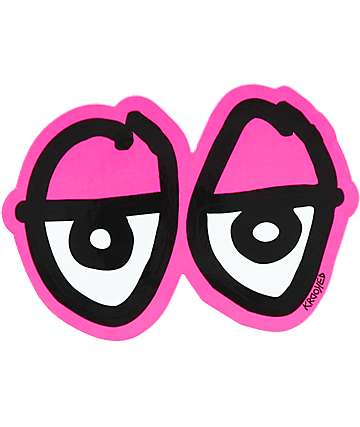 Krooked Eyes Die Cut Pink Sticker