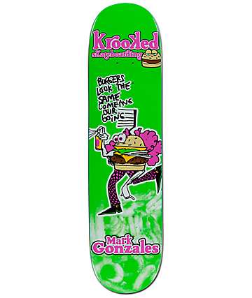 "Krooked Gonz Flying Burger 7.75"" Skateboard Deck"