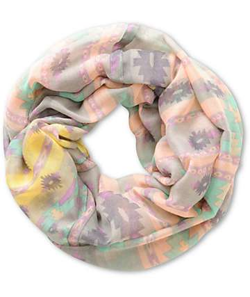 LA Double 7 Grey Tribal Print Infinity Scarf