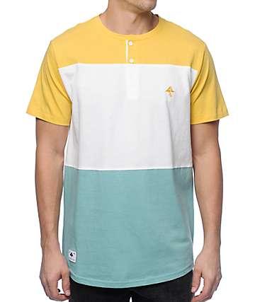 LRG Brighten camiseta henley en blanco, azul y color amarillo