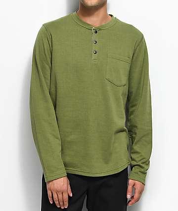 LRG Militia camiseta henley de manga larga en color verde olivo