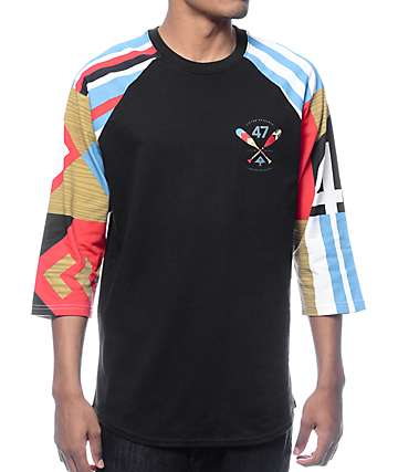 LRG Paddle Team Black Baseball T-Shirt
