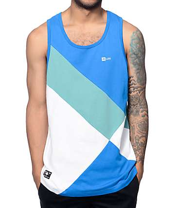 LRG RC Color Blocked White, Teal & Blue Tank Top