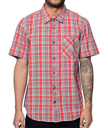 LRG Reverb Red & Grey Button Up Shirt