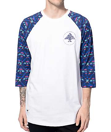LRG Scribe White & Navy Baseball T-Shirt