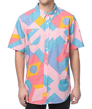LRG Spectra Light Pink Button Up Shirt