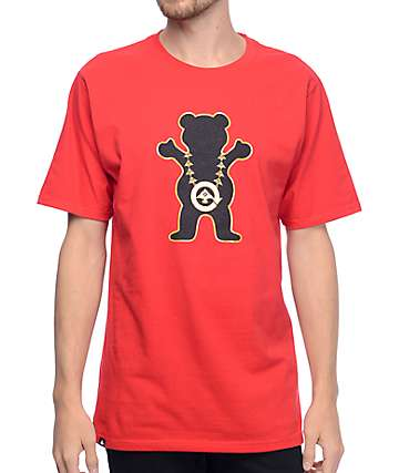 LRG X Grizzly Boss Bear camiseta roja