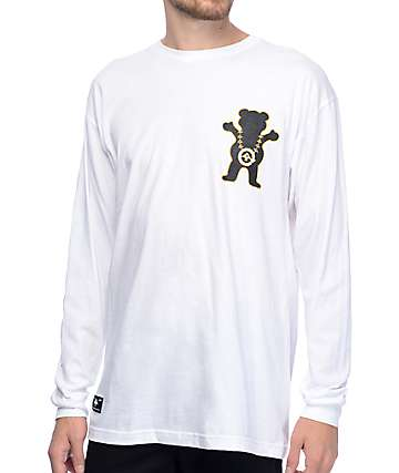 LRG x Grizzly Boss Bear White Long Sleeve T-Shirt