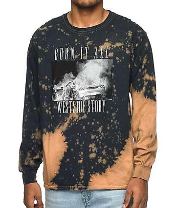 La Familia Burn It All camiseta negra blanqueado de manga larga