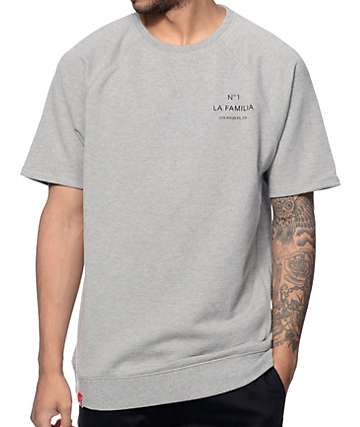 La Familia LF Coco heather Grey Short Sleeve Crew Neck Sweatshirt