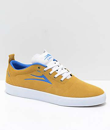 Lakai Bristol Gold & Blue Suede Skate Shoes