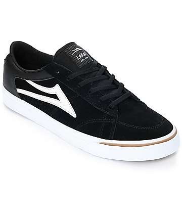 Lakai Ellis Black & White Suede Skate Shoes