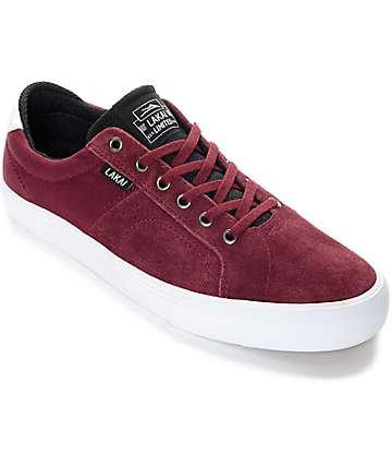 Lakai Flaco Burgundy & White Suede Skate Shoes