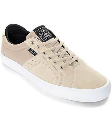 Lakai Flaco Cream & White Suede Skate Shoes