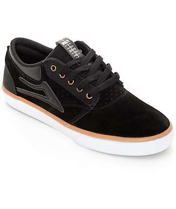 Lakai Griffin Black, Gum, & White Suede Skate Shoes