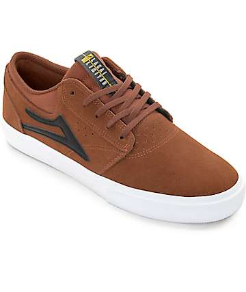 Lakai Griffin Copper & White Suede Skate Shoes
