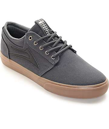 Lakai Griffin Grey & Gum Canvas Skate Shoes