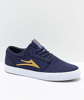 Lakai Griffin Navy, Gold & White Canvas Skate Shoes