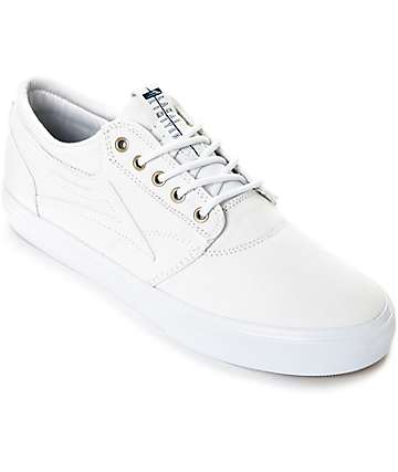 Lakai Griffin White & White Canvas Skate Shoes