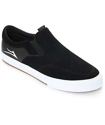 Lakai Owen VLK Black & White Suede Skate Shoes