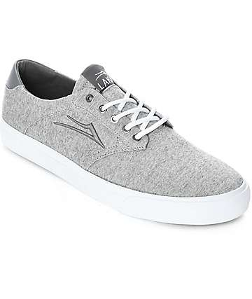 Lakai Porter Grey & White Textile Skate Shoes