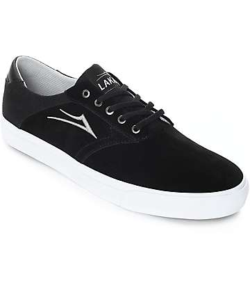 Lakai Porter zapatos de skate de ante en blanco y negro