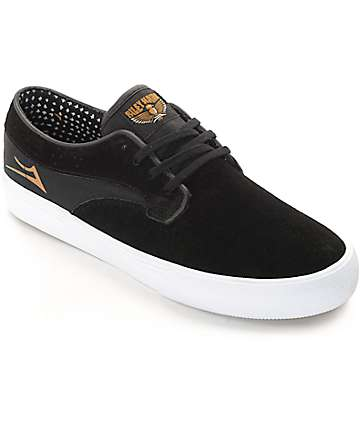 Lakai Riley Hawk Black & White Suede Skate Shoes