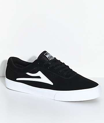 Lakai Sheffield Black & White Suede Skate Shoes