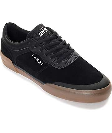 Lakai Staple Black & Gum Suede Skate Shoes
